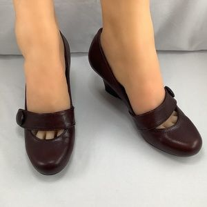 BCBGirls Island Leather Mary Jane Wedges in Brown